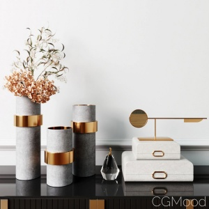Decorative Set With Eucalyptus And Brass Gold Vase