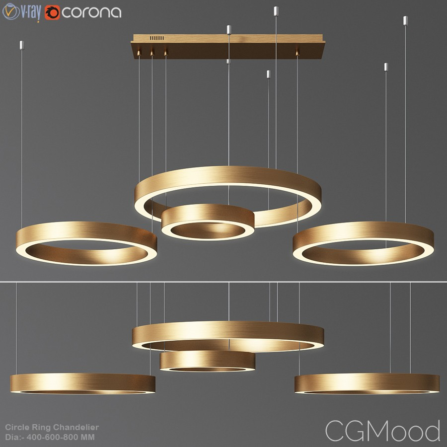 Circle Ring Chandelier - 3D Model for VRay, Corona