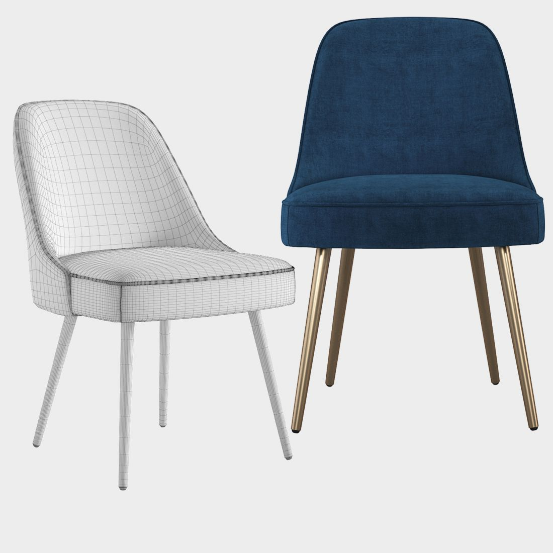 West Elm Mid Century Upholstered Dining Chair 3d Model For Vray Corona