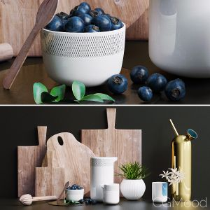 Decorative Set For Kitchen, Blueberry