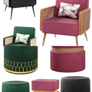 Velvet arm chair and poufs