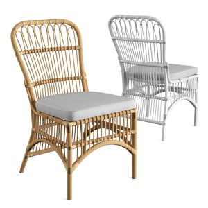 Rattan Loop Side Chair With Seat Cushion Natural