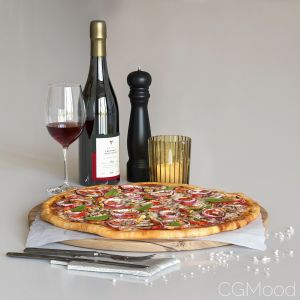 Set With Pizza And Wine