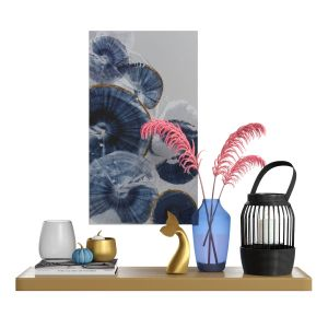 Decor Set-no4- By Gray Glass And Blue Vase