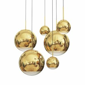 Mirror Ball Pendant Gold Dinning Light Set
