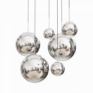 Mirror Ball Pendant Chrome Dinning Light Set
