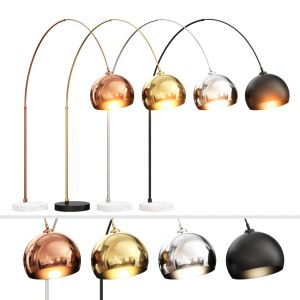 Bow Large Floor Lamp Chrome And White Marble
