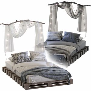 Loft-style pallet bed Set 86