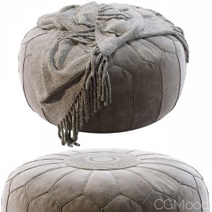 Vintage Round Moroccan Pouf Hand Tooled In Marrake