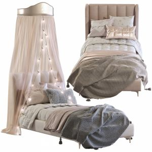 Bed Blush Lizbeth Velvet Single Bed 3 Set 88