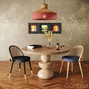Dining Set 2- By Rattan Chair In 4 Color