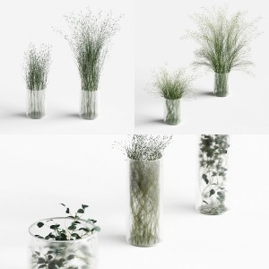 Grass decorations collection in vases v1