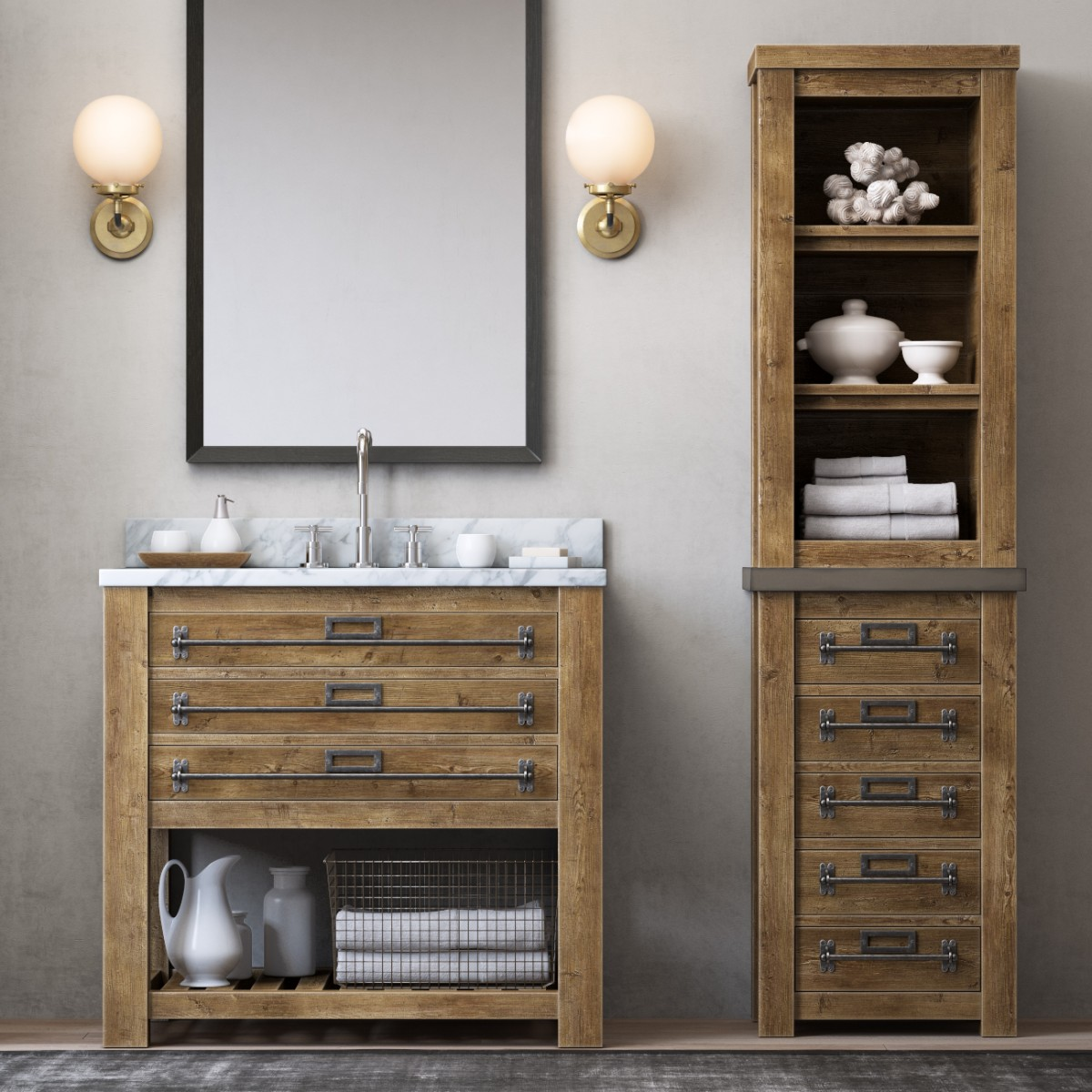 Mercantile Single Washstand And Mercantile Medium 3d