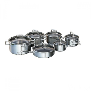 A Set Of Stainless Steel Saucepans