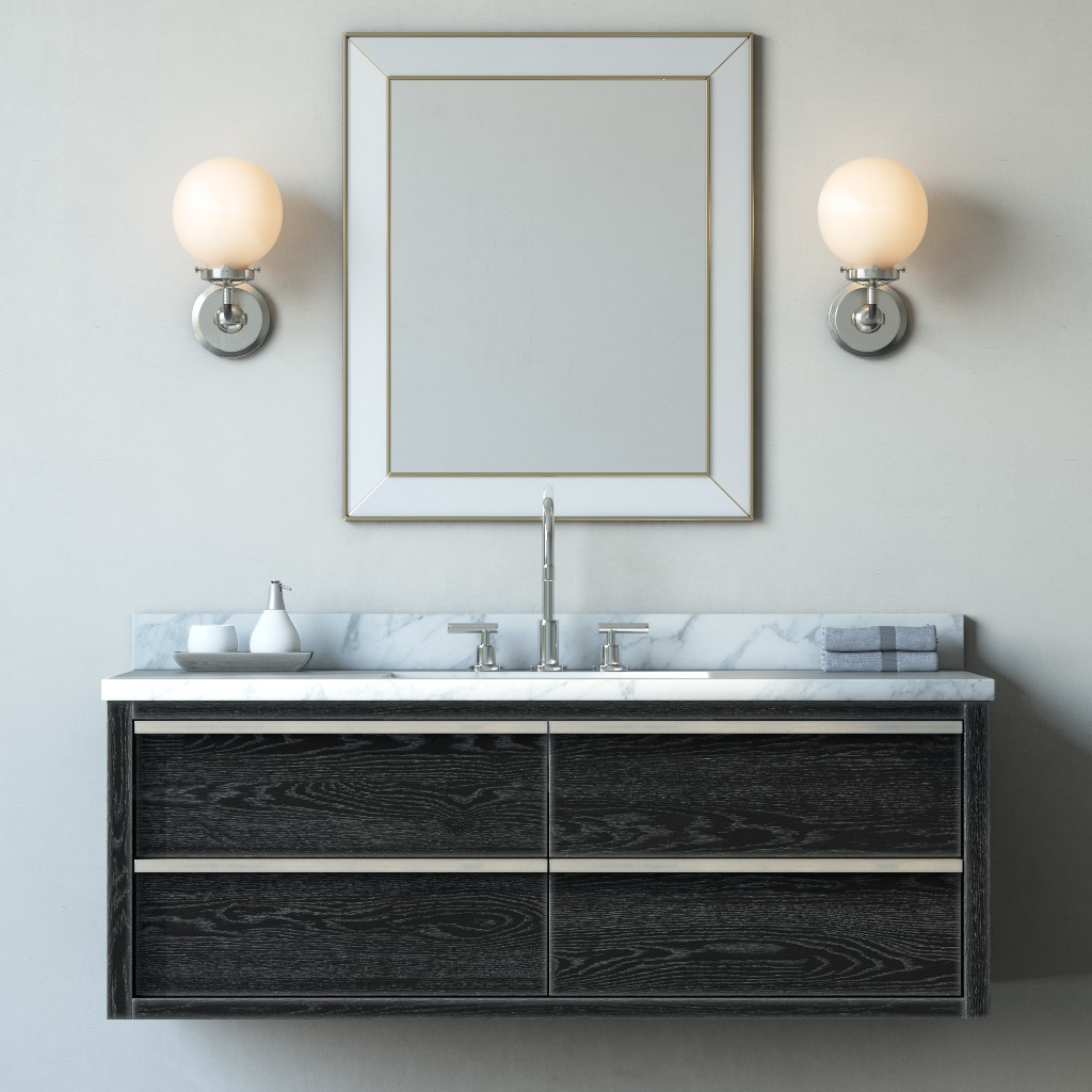 Bezier Single Extra Wide Floating Vanity 3d Model For Vray