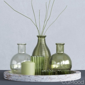 Green Glass Votive Collection With Wooden Tray