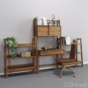 Mid-century Wall Desk And Low Bookself
