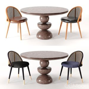 Dining Set 3- By Rattan Chair In 4 Color
