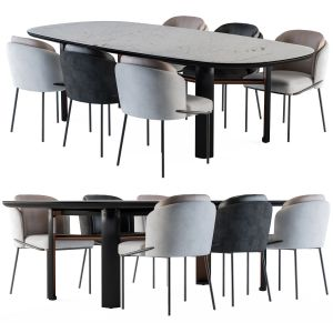 Minotti Dinning - Lou Table And Chair Black And Wh