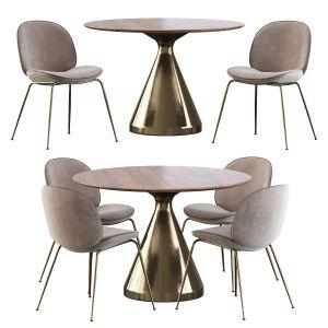 Gubi Beetle Chair And Silhouette Pedestal Round Di