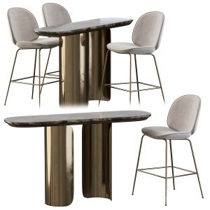 Gabriel Oval Table And Gubi Beetle Bar Stool