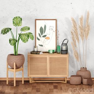 Decor Set-no5- By Rattan Table And Baskets