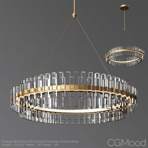 Phoebe 48 Round Led Crystal Chandelier Antique Bra