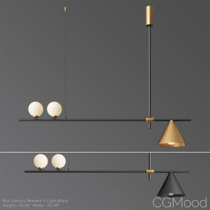 Mid Century Modern 3 Light Black