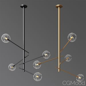 Aksel 4 Light Pendant In Black & Gold