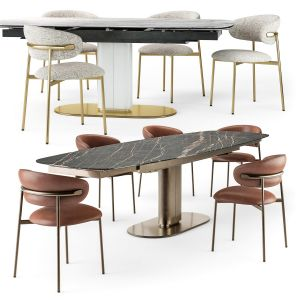 Calligaris Cameo Table Oleandro Chair Set