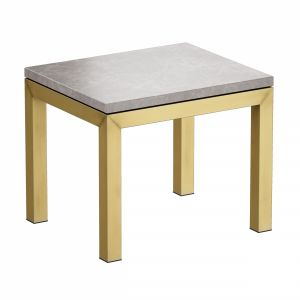 Parsons Grey Marble Top Brass Base End Table