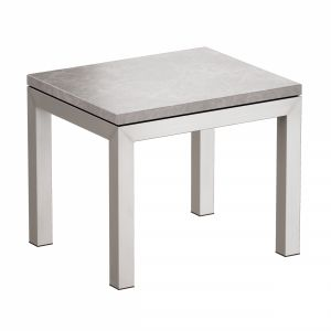 Parsons Grey Marble Top Stainless Steel End Table