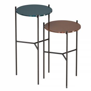 Maylan Painted Glass End Tables Set Of 2