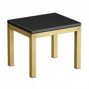 Parsons Black Marble Top Brass Base End Table