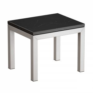 Parsons Black Marble Top Stainless Steel Base End