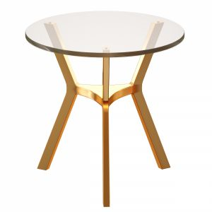 Elke Glass End Table With Brass Base