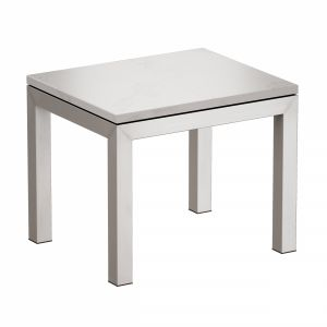 Parsons White Marble Top Stainless Steel Base End
