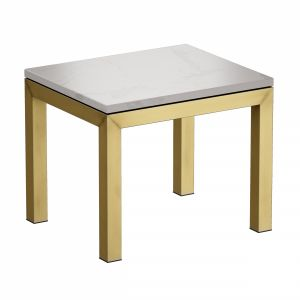 Parsons White Marble Top Brass Base End Table