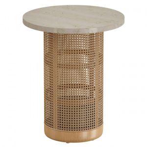 Vernet Travertine Cane End Table