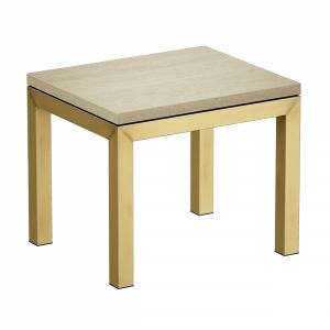 Parsons Travertine Top Brass Base End Table