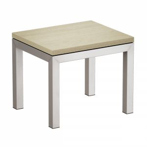 Parsons Travertine Top Stainless Steel Base End Ta