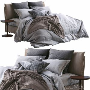 Twils Leather Bed Blanca