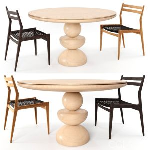 Dining Set 2- By Woven Rope (vray Version)