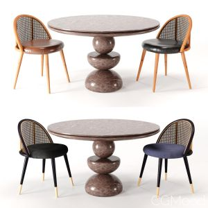 Dining Set 3- By Rattan Chair In 4 Color (vray Ver
