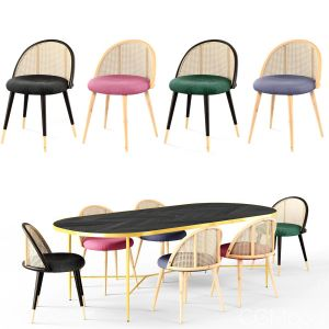 Dining Set 1- By Chair Rattan (vray Version)