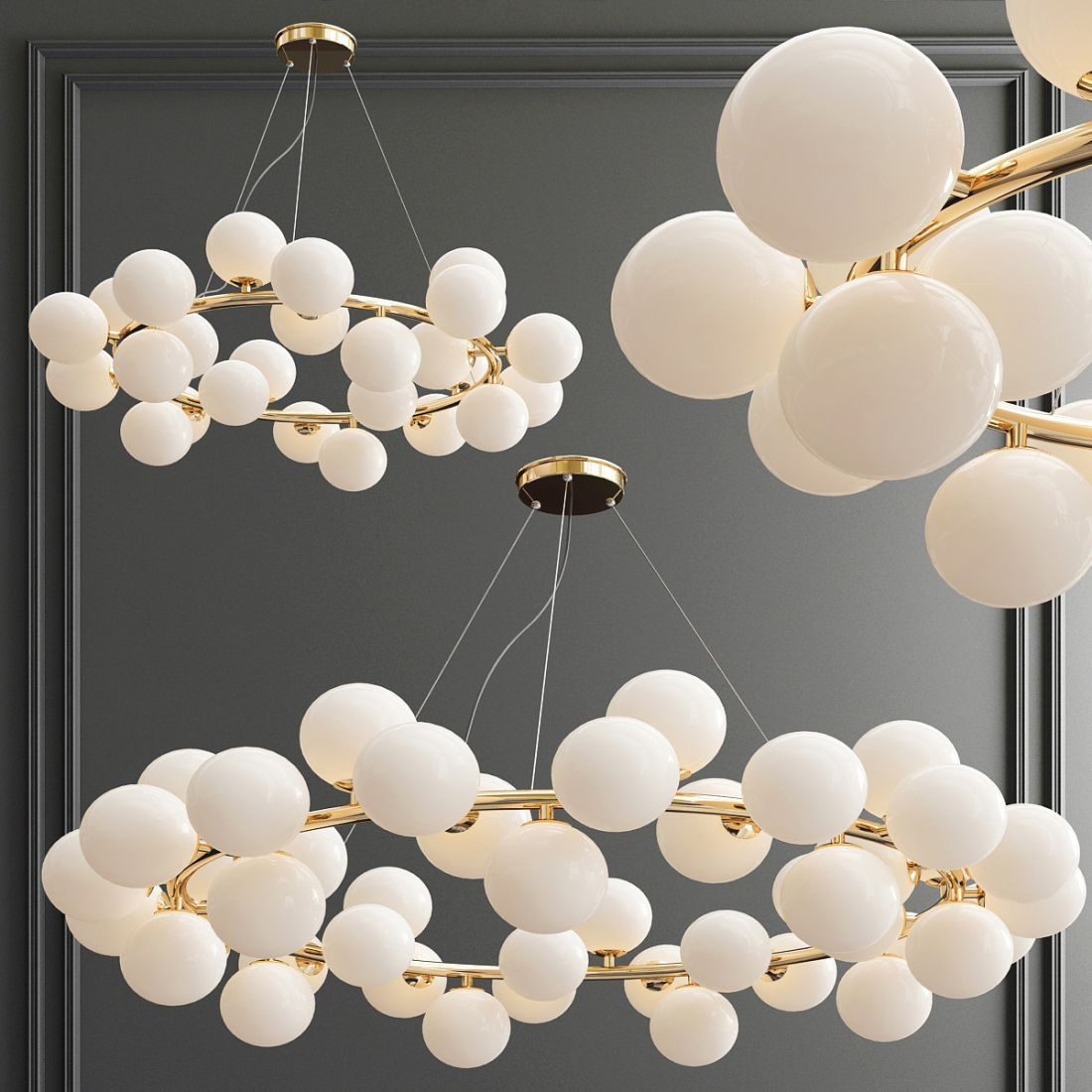 Mimosa Round 25 45 Lamp Chandelier 3d Model For Vray