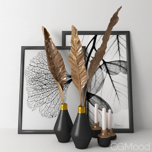Decorative set with bronze banana leaves