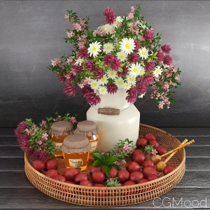 Set with Honey, Apples and Bouquet