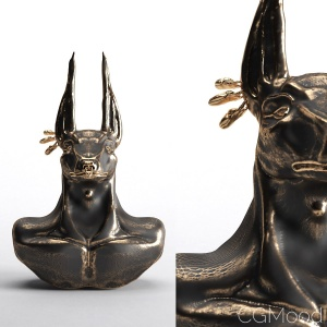 Annubis Black Gold Sculpture