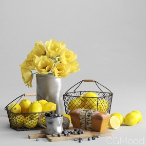 Decorative set with lemon and berries